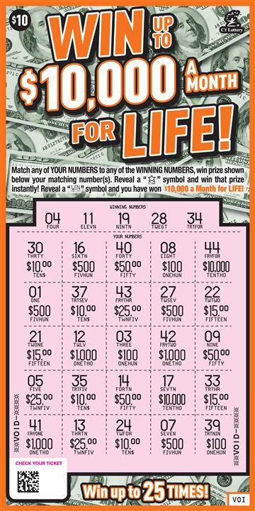 WIN UP TO $10,000 A MONTH FOR LIFE rollover image